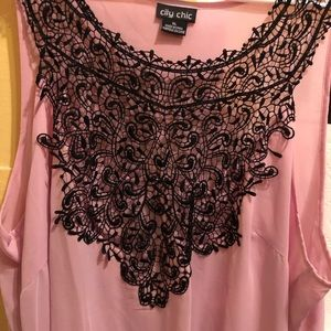 City Chic Light Pink Flowy Black Lace Top
